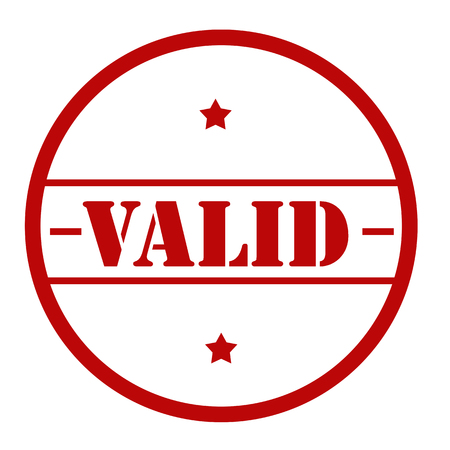 Red stamp with text Valid, vector illustration.