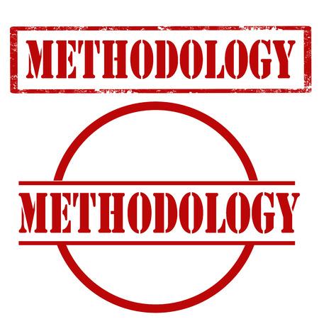 Conjunto de sellos con texto Metodología, ilustración vectorial