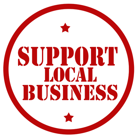 Red stamp with text Support Local Business,vector illustration