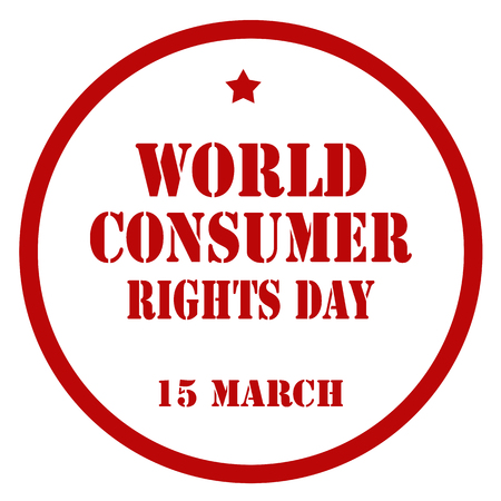 Red stamp with text World Consumer Rights Day illustration