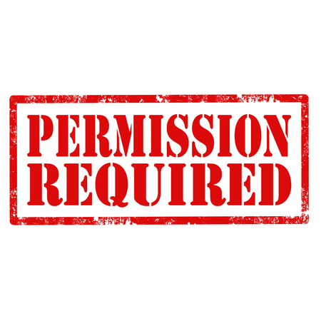 Red stamp with text Permission Required,vector illustration