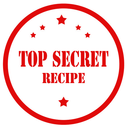 Red stamp with text Top Secret Recipe, vector illustration