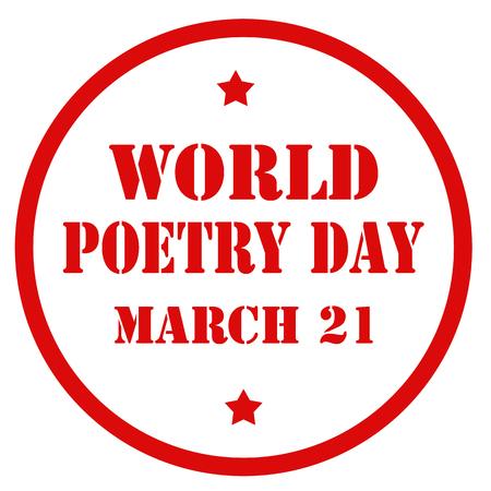 Rode stempel met tekst Wereld Poëzie Dag, vectorillustratie