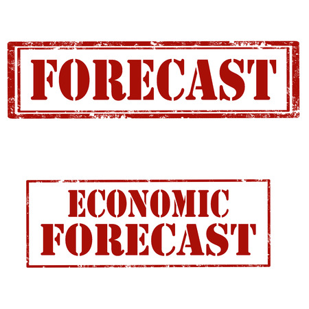 Set of stamps with text Forecast and Economic Forecast, vector illustration Çizim