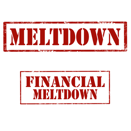 Set of stamps with text meltdown and financial meltdown, vector illustration.