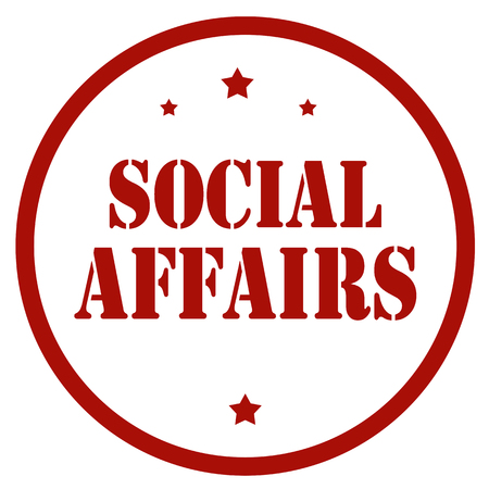 Red stamp with text Social Affairs, vector illustration