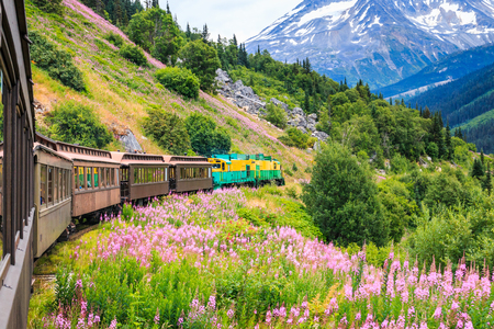 lejos: Skagway, Alaska. El pintoresco White Pass y Yukon Ferrocarril de la ruta.