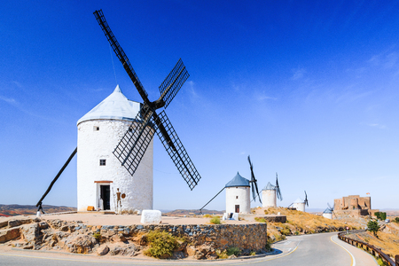 mancha: Consuegra, Spain. Windmills of Don Quixote in Toledo province. Stock Photo