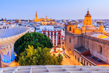 Seville, Spain. Old Town skyline at dusk.