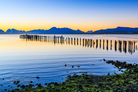 Puerto Natales in Patagonia, Chile. Old Dock in Almirante Montt golf.
