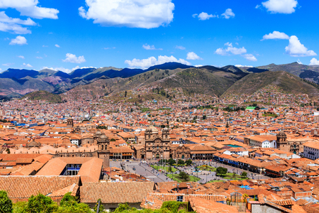 Cusco, Peru the historic capital of the Inca Empire. Panoramic view of the old city Plaza de Armas.