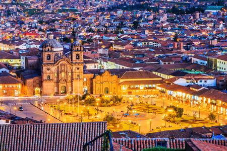Cusco, Peru the historic capital of the Inca Empire. Plaza de Armas at twilight.