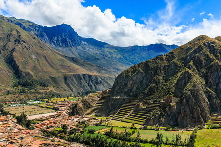 Ollantaytambo, Peru. Inca Fortress with terraces and temple hill.