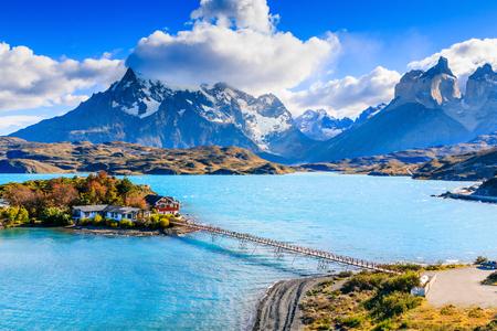 Parque Nacional Torres Del Paine, Chile. Lago Pehoe. Foto de archivo