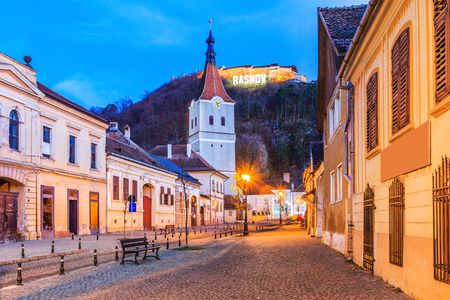 Rasnov, Romania. Medieval saxon city in Transylvania and hilltop ruins of the fortress.