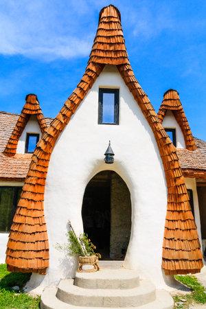 Sibiu, Romania. Detail of fairytale castle, Porumbacu village.