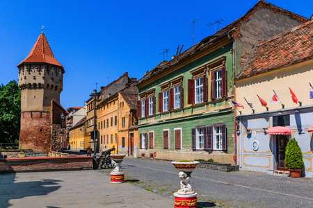 Sibiu,Romania.Fortress and tower of Turnul Dulgherilor. Editorial