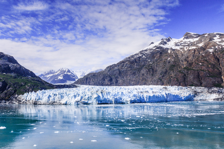 inaccessible: Glaciar Bay,National Park,Alaska.Panoramic view of the Margerie glacier in the Glacier Bay National Park Stock Photo