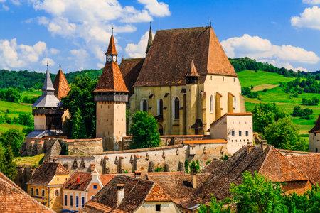 Biertan, Sibiu,  Romania. Saxon village with the fortified church in Transylvania.