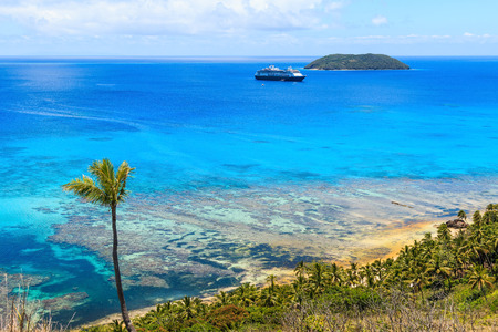 Dravuni Island, Fiji. Panoramic view of the island in the South Pacific ocean. Stock Photo - 83190619