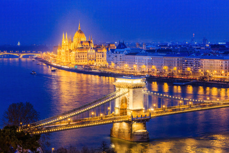 Budapest, Hungary.Panorama of Budapest, Hungary, with the Chain Bridge and the Parliament.