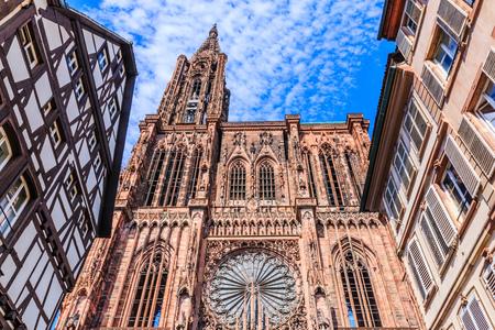 Strasbourg, France. Cathedral Notre Dame of Strasbourg. Standard-Bild