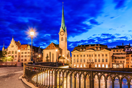 Lucerne, Switzerland. View of city center and Fraumunster Church at night. 写真素材