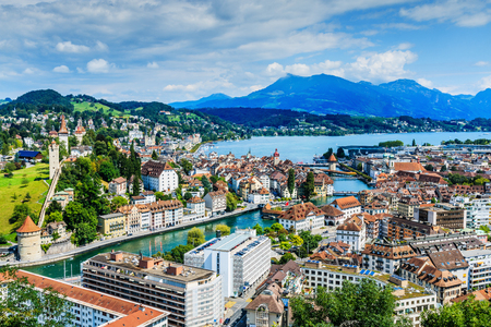 Lucerne, Switzerland. View from above of Lucerne city center and lake.