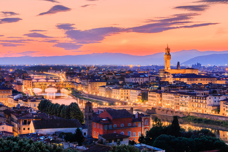 Florence, Italy. Sunset view of Ponte Vecchio and Palazzo Vecchio. 写真素材