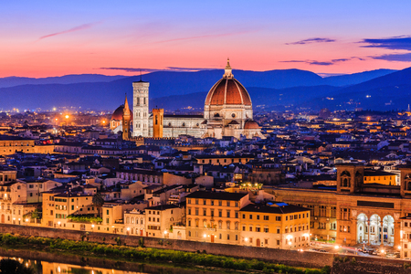 Florence, Italy. View of the Cathedral Santa Maria del Fiore at dusk.