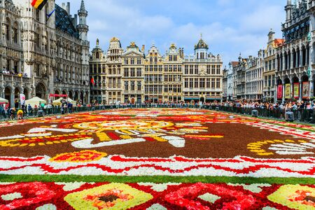 Brussels, Belgium  - August 16, 2018: Grand Place during Flower Carpet Festival. Sajtókép