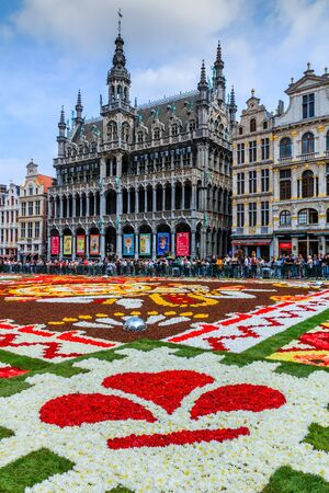 Brussels, Belgium  - August 16, 2018: Maison du Roi during Flower Carpet Festival.