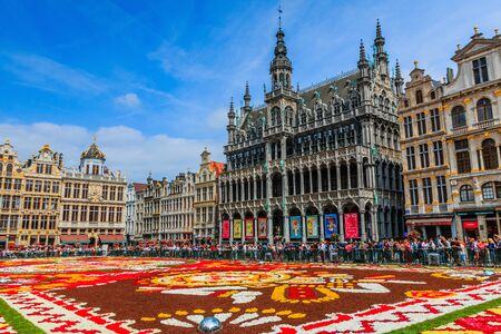 Brussels, Belgium  - August 16, 2018: Maison du Roi and Grand Place  during Flower Carpet Festival. Sajtókép