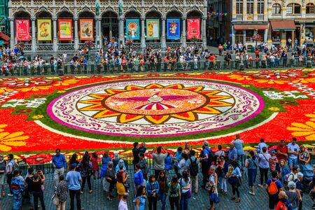 Brussels, Belgium  - August 16, 2018: Famous Grand Place during Flower Carpet Festival.
