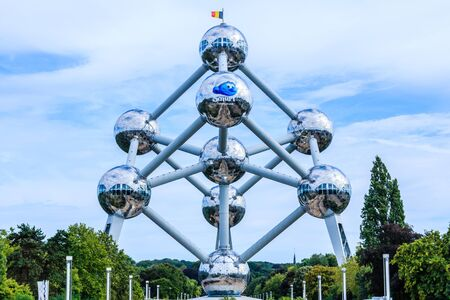 Brussels, Belgium - August 11, 2018: Atomium, famous structure in the form of an atom, in the exhibition park in Brussels.