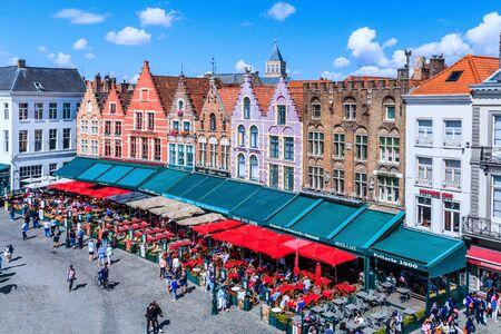 Bruges, Belgium - August 9, 2018: Aerial view of Grote Markt square.
