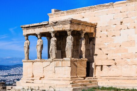 Athens, Greece. Detail of the south porch of Erechtheion with the Caryatids.