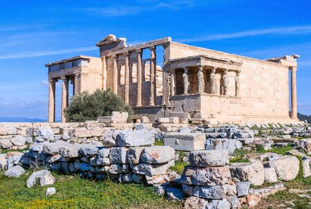 Athens, Greece. The Porch of the Caryatids in The Erechtheion at Acropolis.