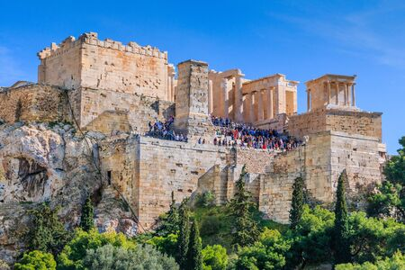 Athens, Greece.  The Propylaea, gateway that serves as the entrance to the Acropolis in Athens. Stock fotó