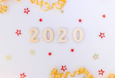 New Year background. Wood numbers 2020 and decorations.