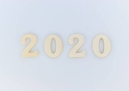 New Year background. Wood numbers 2020 on a white background. Stock fotó