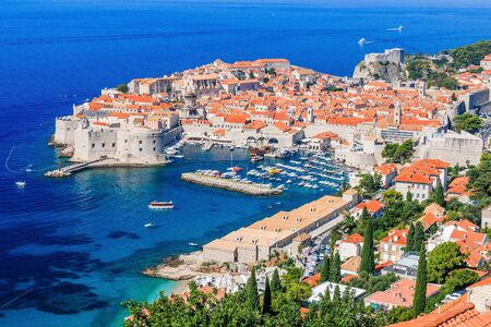 A panoramic view of the walled city, Dubrovnik, Croatia.