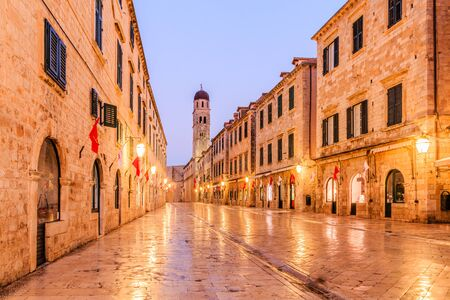 Night view at old historic street Stradun in old city center of Dubrovnik, Croatia.