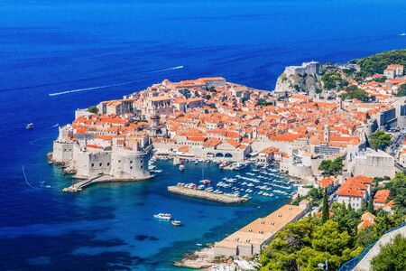 Dubrovnik, Croatia. Picturesque view on the old town (medieval Ragusa) and Dalmatian Coast of Adriatic Sea. Stock fotó