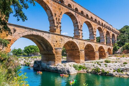 Nimes, France. Ancient aqueduct of Pont du Gard Stock fotó - 143528086