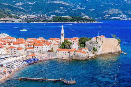 Panoramic view of the old town Budva, Montenegro.