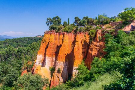 Beautiful red ocher cliffs near the village of Roussillon.