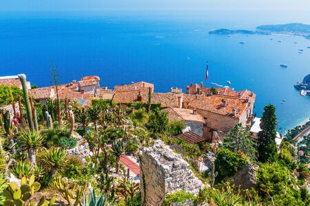 French Riviera. The Medieval Village of Eze, scenic view of the Mediterranean coastline from the top of the town.