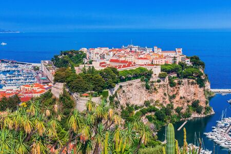 Monaco. Panoramic view of prince's palace and old town in Monte Carlo. Stock fotó
