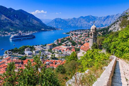 Kotor bay and Old Town from Lovcen Mountain. Kotor, Montenegro. Stock fotó